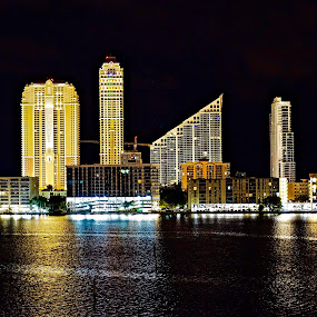 Night on Williams Island, FL by Neil Dern - City,  Street & Park  Night