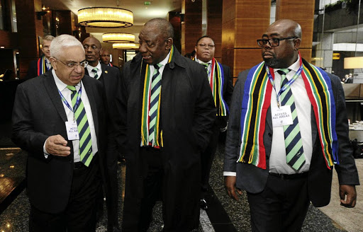 Losing bid: SA Rugby Union boss Mark Alexander, left, Deputy President Cyril Ramaphosa and Sports Minister Thulas Nxesi at the 2023 World Rugby host country announcement in November when SA lost out to France. Picture: SIYABULELA DUDA