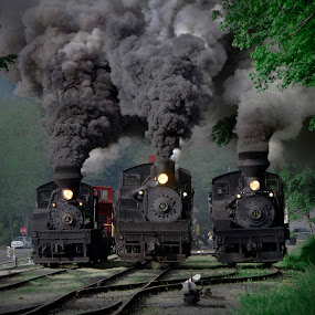 Train Race by Chuck  Gordon  - Transportation Trains ( cass, shay, action, trains, smoke, steam )