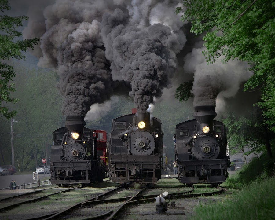 Train Race by Chuck  Gordon  - Transportation Trains ( cass, shay, action, trains, smoke, steam )