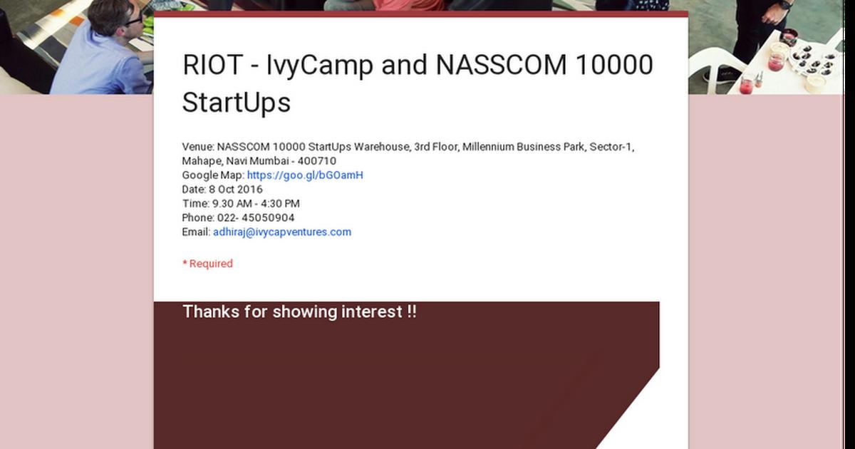 RIOT - IvyCamp and NASSCOM 10000 StartUps