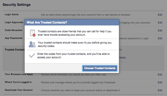 how to add trusted contacts step 2