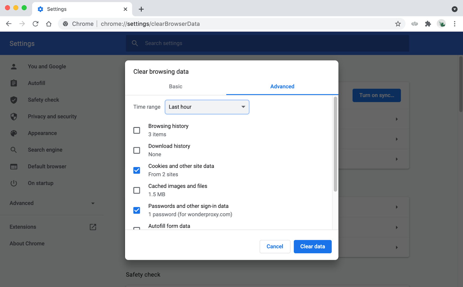 Chrome's Clear Browsing Data modal with Cookies and Passwords checkboxes selected