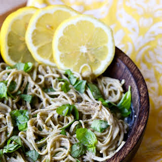 Vegan Lemon Sauce with Basil and Pasta.