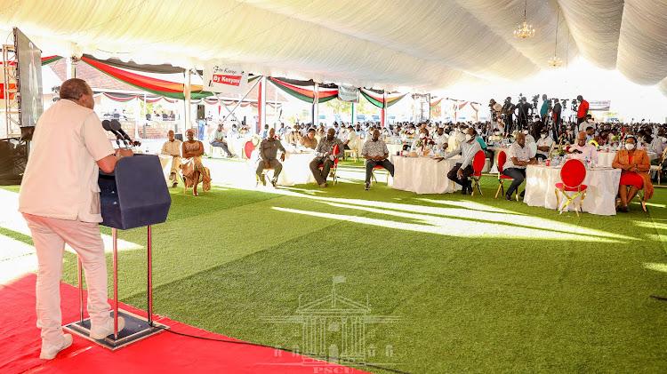 President Uhuru Kenyatta addressing the Cabinet Meeting on Friday at the KWS Law Enforcement Academy in Manyani.
