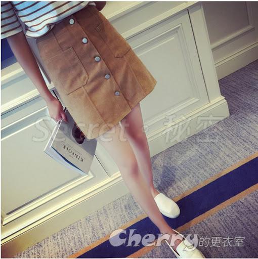 韓版簡約學院風素色單排多扣高腰半身裙短裙
