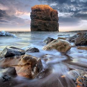 by BethSheba Ashe - Landscapes Beaches ( water, hdr, splash, waves, stone, sea, rock, beach, dusk, marsden, sunset, dramatic, tide )