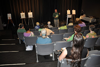 Photo: David Lanoue giving his presentation on the haiku poet Issa to an attentive audience.