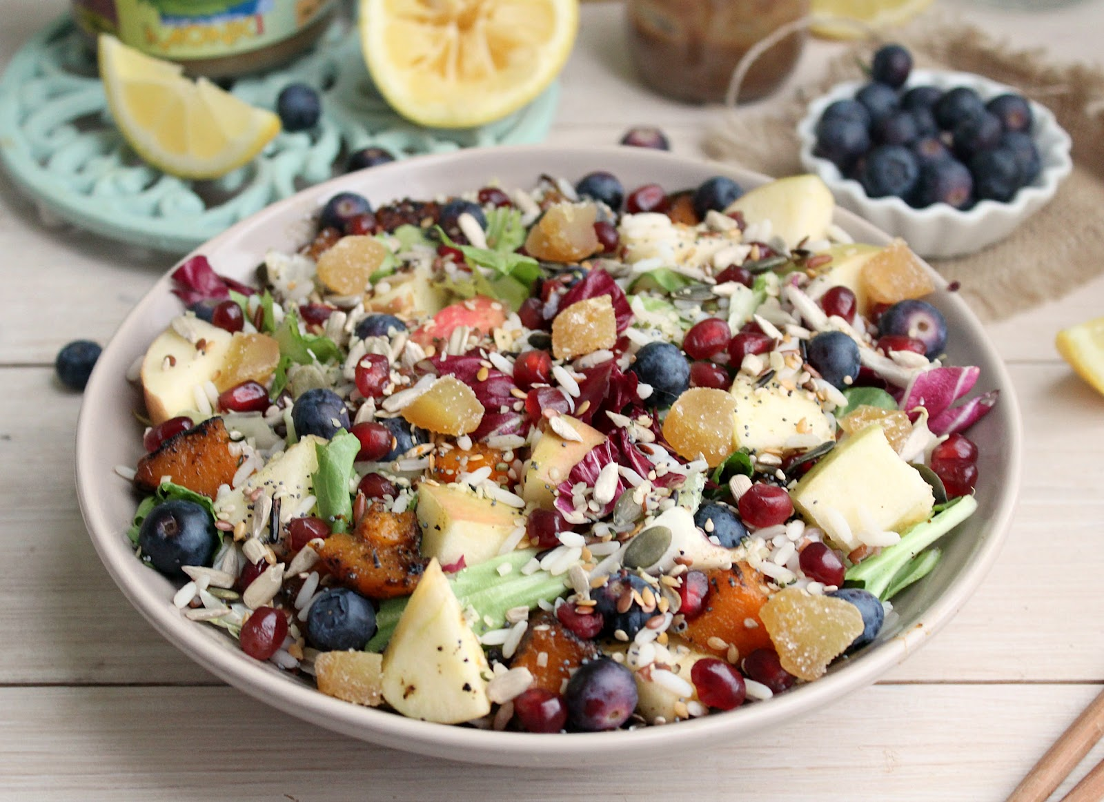 Wild Rice Rainbow Salad with Creamy Tahini Lemon Dressing