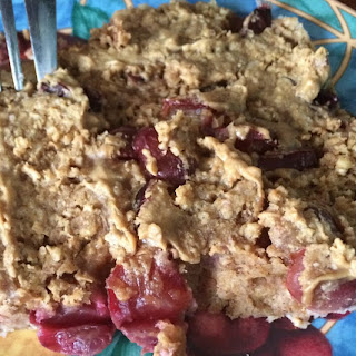 Clean 4 Ingredient Peanut Butter and Jelly Baked Oatmeal.