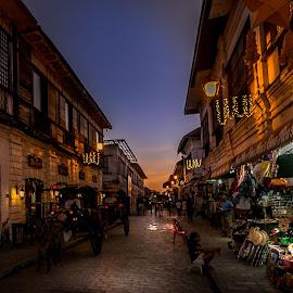 Vigan by Mario Borg - City,  Street & Park  Street Scenes ( shop, street, sunset, village, lights )