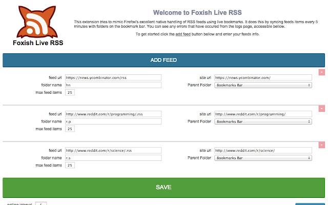 Foxish live RSS