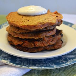 Carrot Cake Pancakes with Greek Yogurt Cream Cheese Frosting.