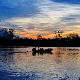 I Don't Care How Cold It Is, It's Walleye Season by Howard Sharper - Sports & Fitness Watersports ( fishermen, dawn, riverside, waterscape, cloudscape, fishing )