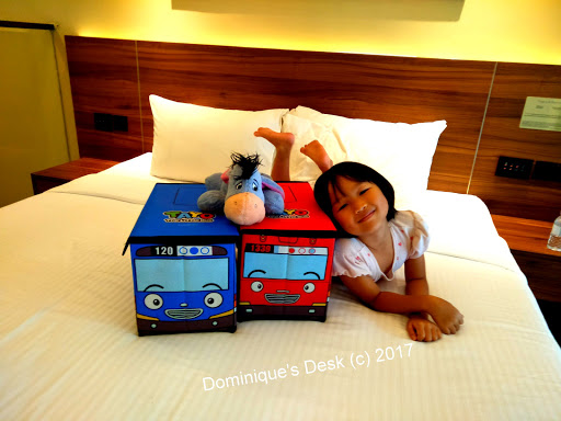 Tiger girl posing with the Tayo bus boxes