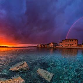 Two world's of magic by Davor Strenja - Landscapes Waterscapes ( bibinje, sunset, croatia, sea, nikon )