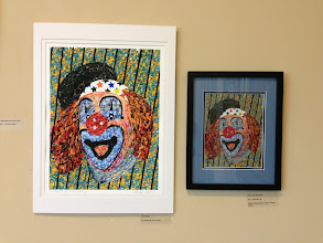 """Photo: """"Clown"""" by Les Sher Medium: Postage Stamp Collage Apr. 2013 Weissman Ctr - Les Sher Artwork"""