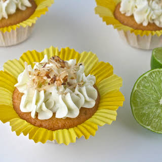 Vanilla Bean-Coconut Cupcakes with Coconut Lime Frosting.