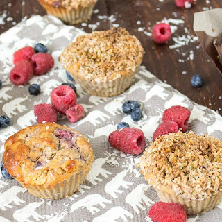 Peach Berry Coconut Crumble Muffins