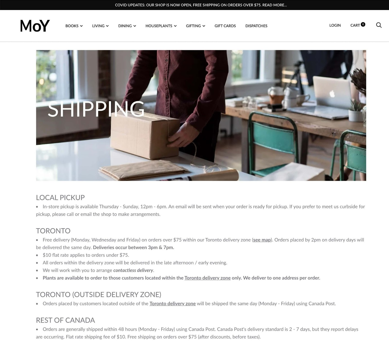 Shipping policy template Shopify