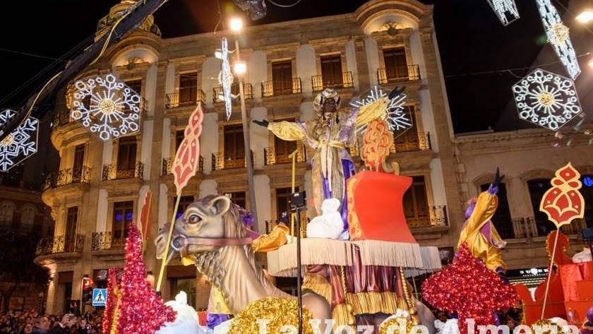 El rey Baltasar en la Cabalgata de Reyes de 2019.