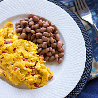 Scrambled Eggs with Red Chile and Cotija Cheese.