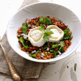 Lentil Salad with Goat Cheese, Red Onion & Bacon