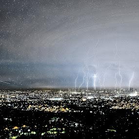 Lightning on Starry Nights... by Jaime Singlador - Landscapes Weather