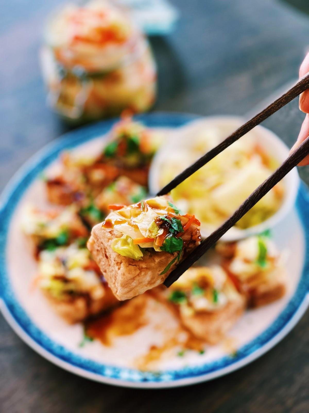 Crispy Fried Tofu with Garlic Sauce