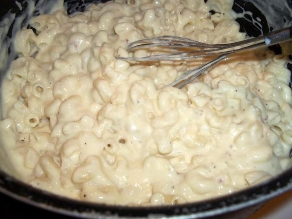 Pour in the well drained macaroni and stir to combine.