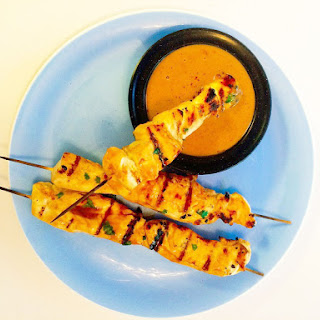 Chicken Kebabs with Peanut Dipping Sauce.