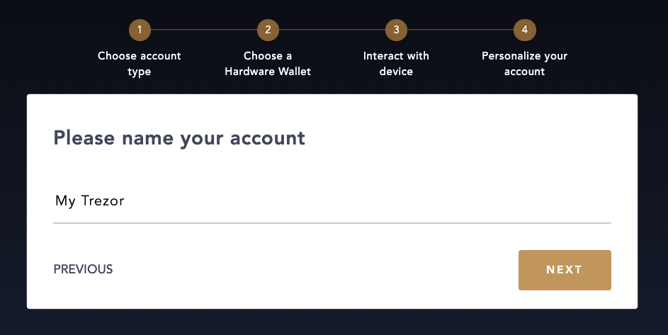 Name your Hardware Wallet Account