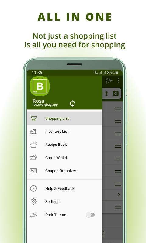 Grocery list, card coupon wallet: BigBag Pro Screenshot 0