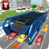 Elevated Bus Driving in City