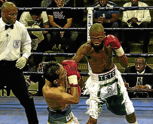 Zolani Tete, right, throws a punch at Richard Garcia during a previous IBF flyweight fight at Nasrec in Johannesburg. He fights Siboniso Gonya on Saturday.