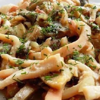 Braised Squid With Mushrooms.
