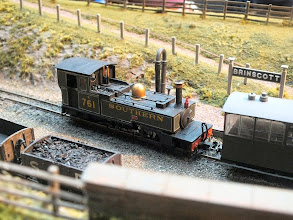 "Photo: 123 Another view of L&B Manning Wardle no, 761 Taw, one of 3 ""standard"" 009 models detailed from Stenning kits and built onto the ubiquitous Minitrix 2-6-2 chassis ."