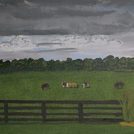 Stormy Weather by Robin Smith - Painting All Painting ( animals, horses., weather, landscape, fields )