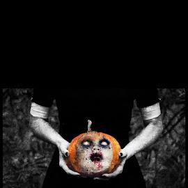 dont loose your head by Kathleen Devai - Digital Art Things ( girl, pumkin, head, horror, halloween )
