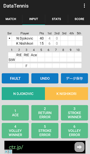 Data Tennis for keeping scores