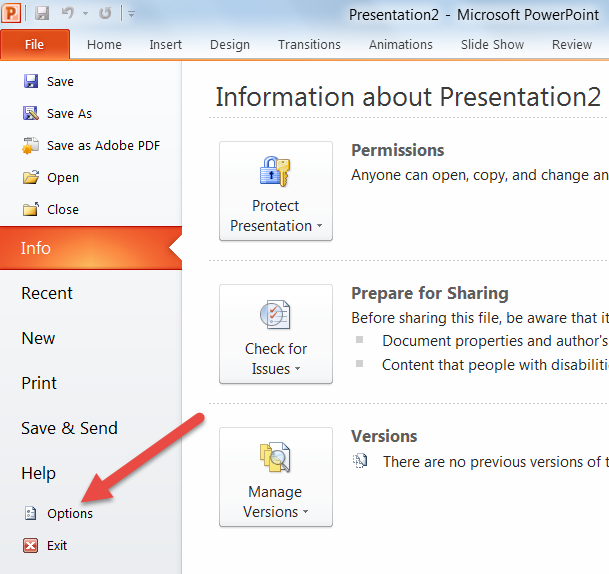 File menu in PowerPoint 2010