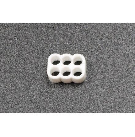 Kabelkam for 6 pins kabel, 2x3 Ø4mm hull, hvit