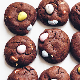 Double Chocolate Cookies with Cadbury Eggs.