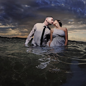 *** by Victor Vertsner - Wedding Bride & Groom ( sea, couple, bride, groom, trash the dress )