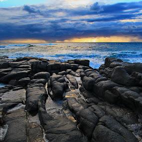 Sunrise by Steven Butler - Landscapes Waterscapes ( water scape, sea, sunrise, rocks )