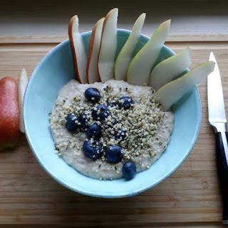 Blueberry Hemp Pear Porridge.