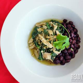 Salsa Verde Chicken Stew with Spinach and Black Beans.