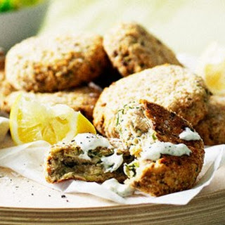 Salmon Cakes With Caper Sauce.
