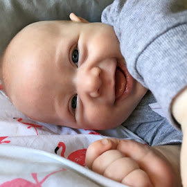 Delighted by Sandy Stevens Krassinger - Babies & Children Babies ( dimples, smiles, cheeks, baby, fingers, boy )