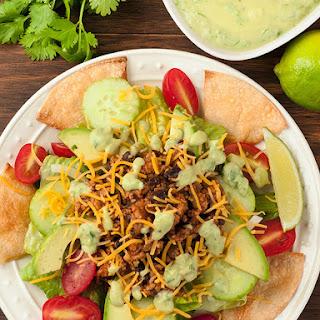 Taco Salad with Avocado Dressing.